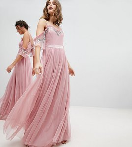 Read more about Maya cold shoulder sequin detail tulle maxi dress with ruffle detail - vintage rose