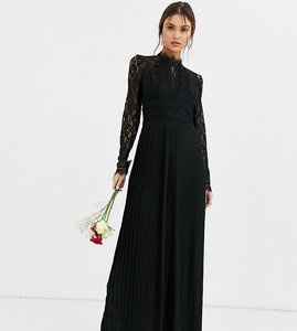 Read more about Tfnc bridesmaid high neck long sleeve pleated maxi dress with lace inserts in black
