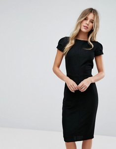 Read more about Closet london structured plisse pencil dress - black