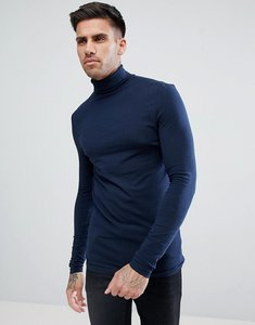 Read more about Asos design muscle fit long sleeve t-shirt with roll neck - navy