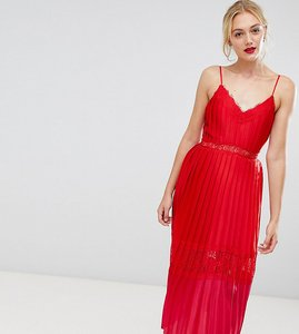 Read more about Little mistress tall pleated lace trim midi dress in pomegranate