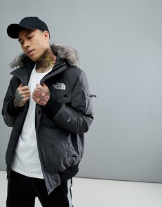 Read more about The north face gotham bomber jacket with detachable faux fur hood in grey - tnf dark grey hthr