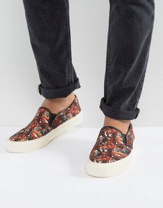 Read more about Asos slip on plimsolls in canvas with tiger print - black
