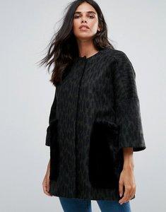 Read more about Helene berman wool blend kimono coat with faux fur pockets - khaki black
