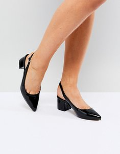 Read more about Truffle collection sling back mid heel shoe - black mix