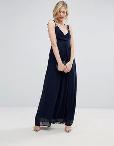 Read more about Club l bridesmaid pleated maxi dress with crochet lace straps - navy