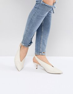 Read more about Office miranda white sling back kitten heeled shoes - white