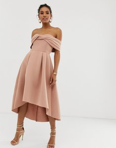 246db8d43c0 asos soft off the shoulder bardot midi prom dress nude - Shop asos ...