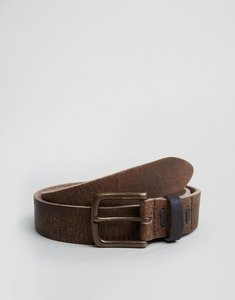 Read more about Asos leather wide belt in brown with vintage look and contrast keeper - brown