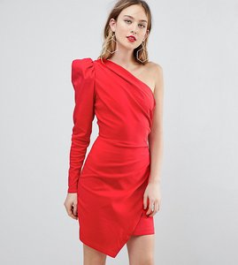 Read more about Asos tall ultimate one shoulder structured mini dress - red