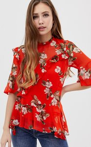 Read more about Miss selfridge exclusive ruffle printed blouse - print