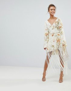 Read more about Asos design wrap dress in floral print with fringe detail - floral print