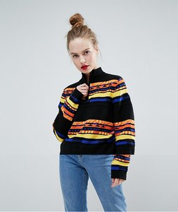 Read more about Asos jumper with high neck in graphic pattern - multi