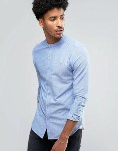 Read more about Farah cliffords slim fit grandad collar oxford slub shirt blue - seafront 472