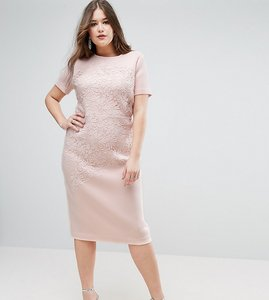 Read more about Asos curve crochet lace scuba bodycon midi dress - nude