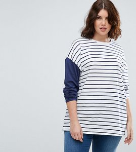 Read more about Asos curve top in stripe with colourblock sleeve - white navy