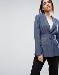 Read more about Asos tailored belted blazer in blue check - check