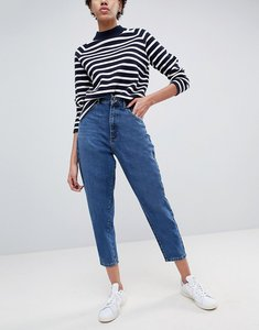 Read more about Asos balloon leg jeans in dark wash blue - mid wash blue