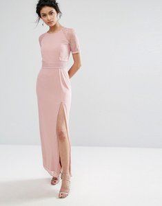 Read more about Elise ryan maxi dress with lace sleeve and back - mauve