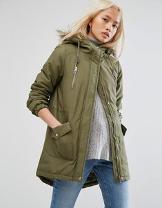 Read more about Noisy may faux fur parka - ivy green