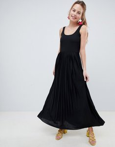 Read more about Asos design maxi dress with pleated skirt - black