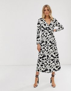 Read more about Asos design wrap maxi dress in mono splodge print