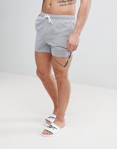 Read more about Asos swim shorts in seersucker blue stripe in short length - blue