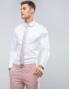 Read more about Asos design slim fit sateen shirt with double cuff - white