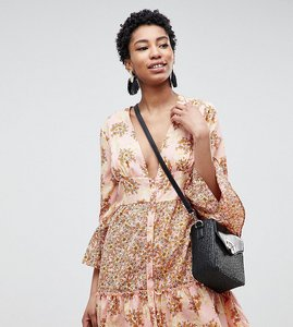 Read more about Vero moda tall floral ruffle mini dress - rose tan aop