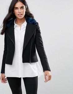 Read more about Helene berman wool blend biker jacket with faur fur collar - black blue