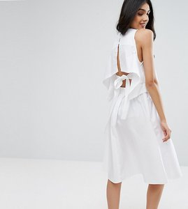 Read more about Asos tall cotton dress with open back and tie detail - white
