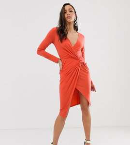 Read more about Flounce london tall wrap front mini dress in rust