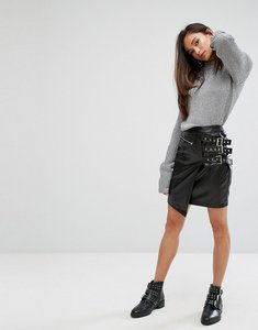 Read more about Prettylittlething side buckle leather look mini skirt - black