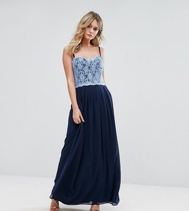 Read more about Elise ryan corset detail maxi dress with lace bodice - navy cornflower lace