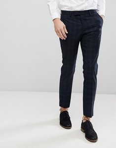 Read more about Moss london skinny suit trousers in check - navy check