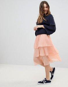 Read more about Monki tiered midi skirt - dusty orange