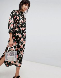 Read more about Walter baker high neck floral print midi shift dress - black