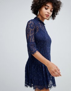 Read more about Missguided lace frill detail shift dress in navy - blue