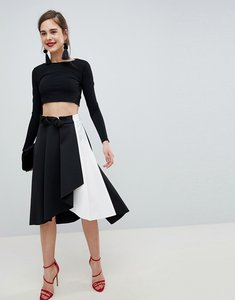Read more about Asos design scuba prom skirt with wrap in mono colourblock - black white