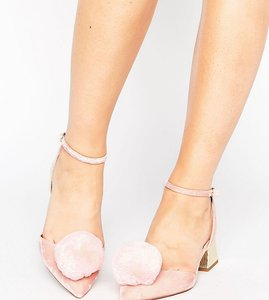 Read more about Asos saucy wide fit pom pom mid heels - pink
