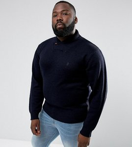 Read more about French connection plus shawl collar jumper - navy