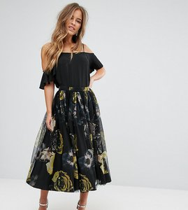 Read more about Asos petite tulle prom skirt in floral print - multi