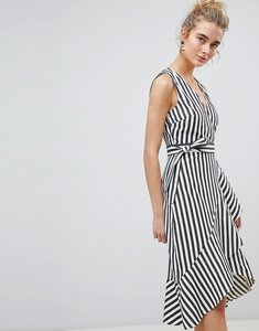 Read more about Warehouse thick stripe wrap ruffle dress - cream