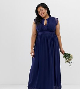 Read more about Tfnc plus lace detail maxi bridesmaid dress in navy