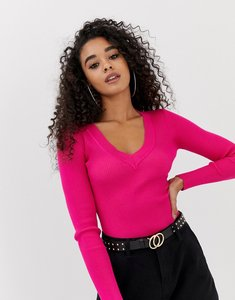 Read more about Missguided ultimate plunge knitted bodysuit - pink