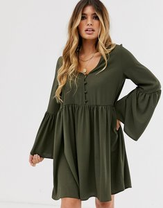 Read more about Asos design button through mini smock dress with fluted sleeves