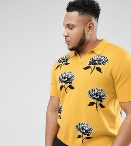 c580326ae5 Read more about Asos design plus knitted revere collar polo in mustard with  floral jacquard -