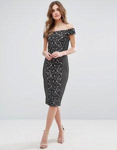 Read more about Warehouse bardot patchwork lace dress - black