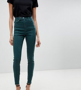 Read more about Asos tall ridley high waist skinny jean with front seam detail and extended button tab in dark fores