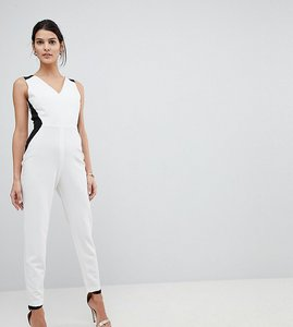 Read more about Vesper tailored jumpsuit with contrast sculpt panels - ivory black